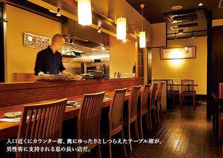 入口近くにカウンター席、奥にゆったりとしつらえたテーブル席が。男性客に支持される息の長い店だ。