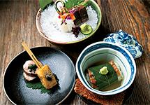 鶏の茶香焼、粟麩の抹茶田楽、穴子の柏蒸し玉露餡