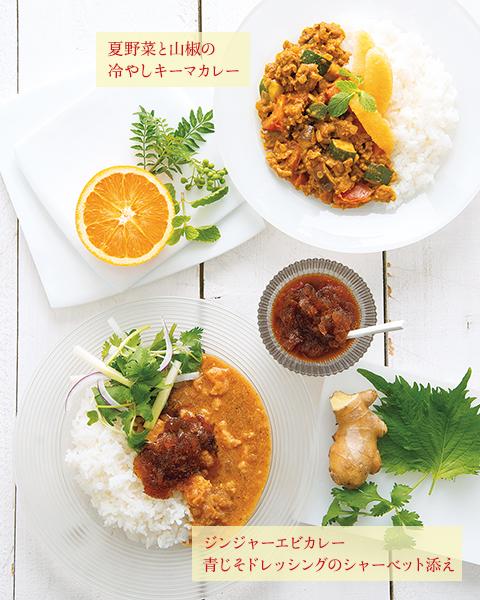 夏野菜と山椒の冷やしキーマカレー ジンジャーエビカレー