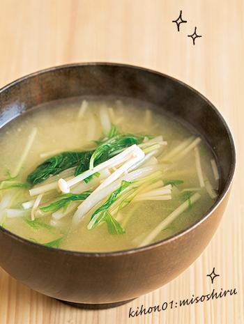 エノキ・もやし・水菜の味噌汁