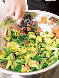 蒸した野菜とあえる
