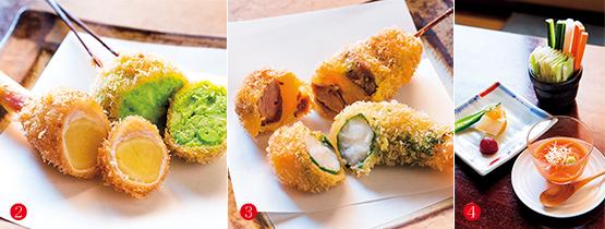 谷中生姜の肉まき、えびのしそまき・ホロホロ鳥、前菜2品