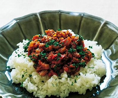 豚挽き肉と夏野菜のトマトカレー