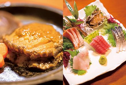 アワビのステーキ/お刺身盛り合わせ