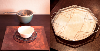 八角形盛り網「HACHIKAKU」、朝日焼青磁茶こし受け、茶こし